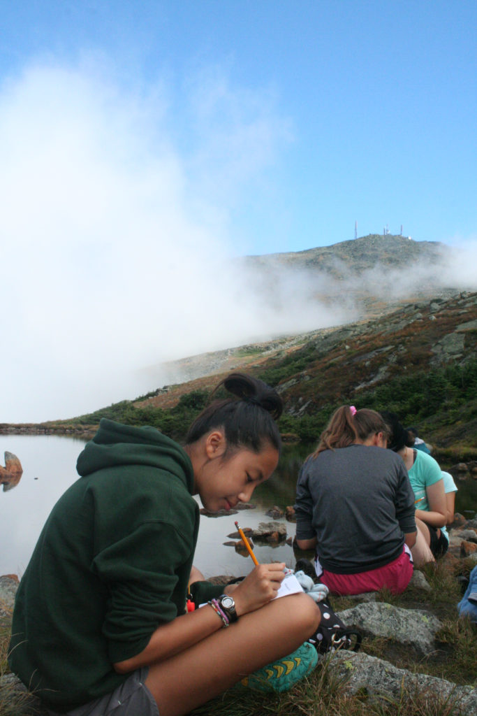 Teens learning in AMCR's outdoor classroom